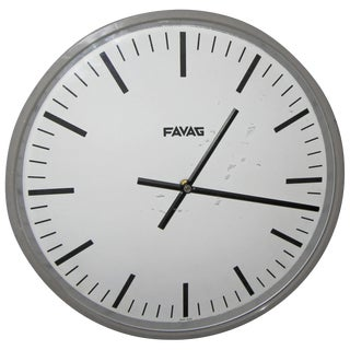 1940s Swiss Industrial Style Wall Clock by Favag For Sale