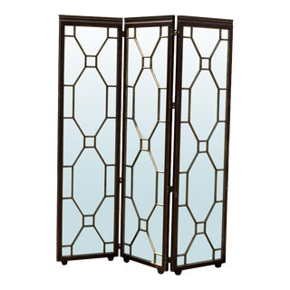 1980s Hollywood Regency Style Mirrored Screen For Sale