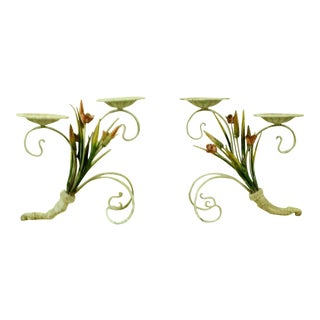 Gracious Wrought Iron Centerpieces Candle Holders - a Pair