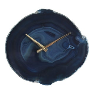 Modern Dark Blue Agate Wall Clock