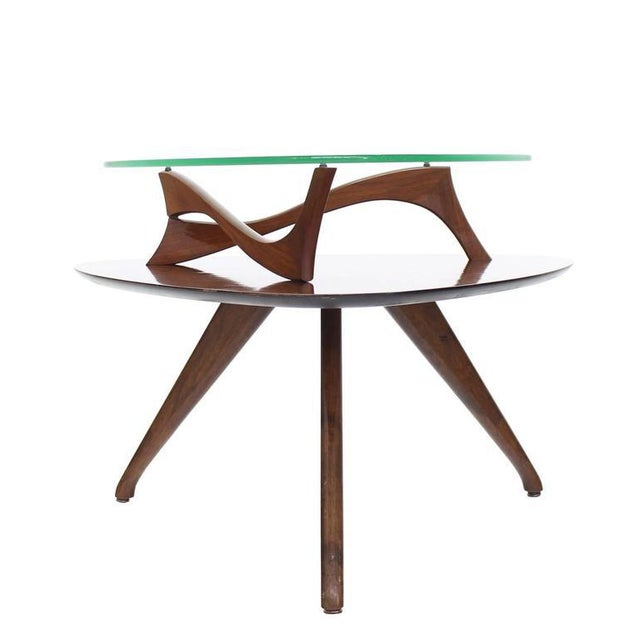 Brown Pair of Round Triangular Tri Legged Two Tier Side End Tables For Sale - Image 8 of 10