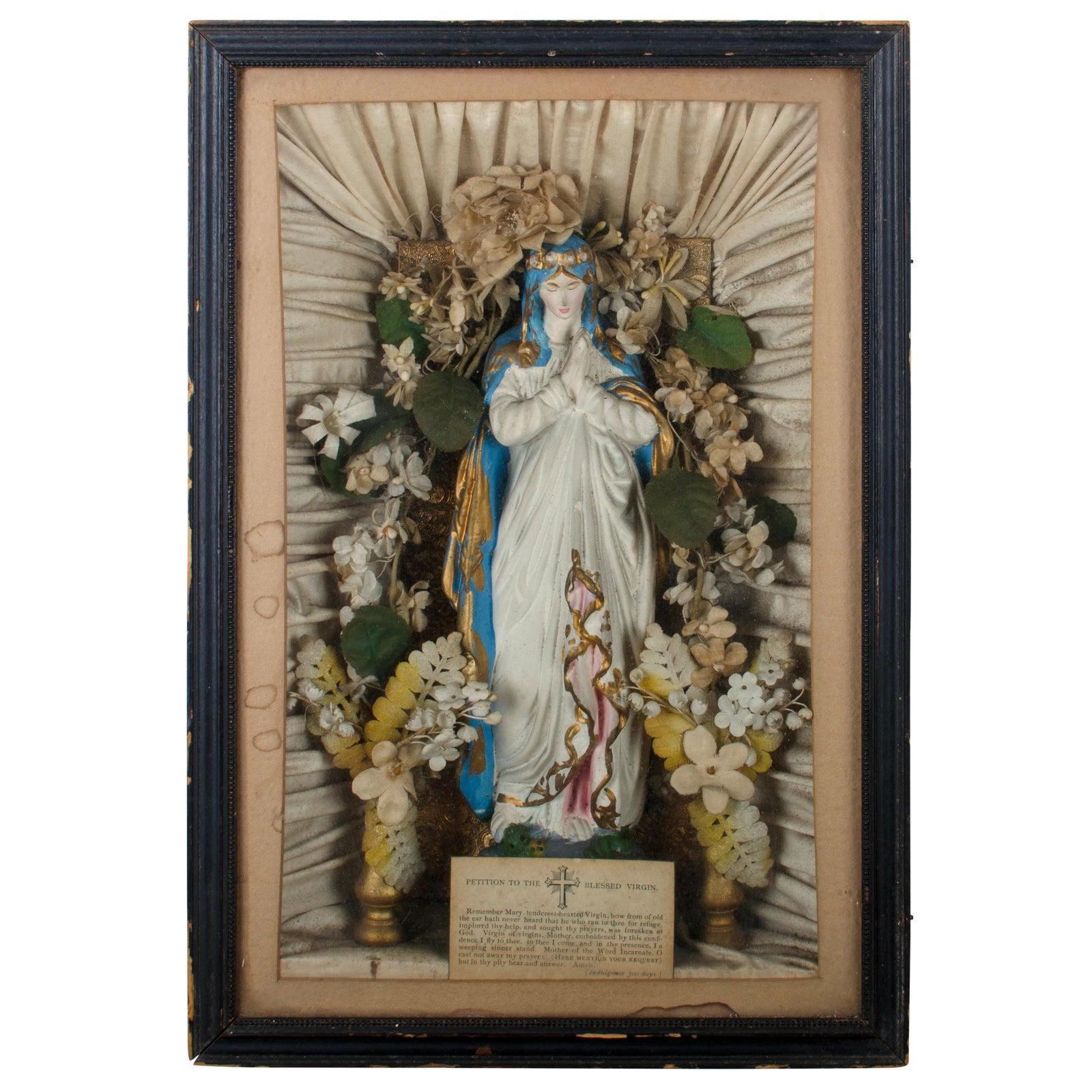 19th Century Blessed Virgin Shadowbox Wall Shrine Chairish