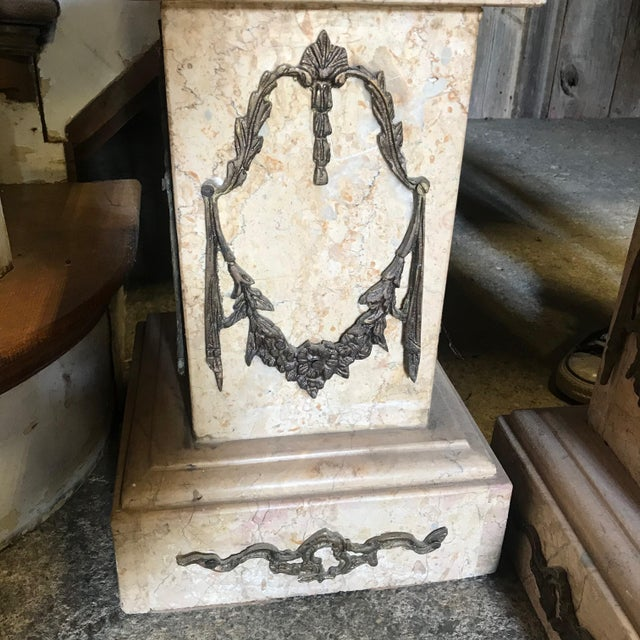 19th Century Marble & Bronze Pedestals Columns-a Pair For Sale - Image 4 of 11
