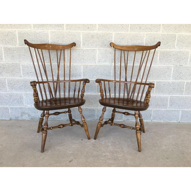Nichols & Stone Paint Decorated Windsor Comb Back Arm Chairs - a Pair For Sale - Image 11 of 11