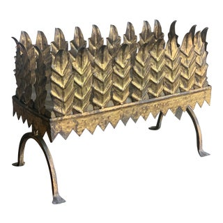 Vintage Spanish Gilt Metal Planter For Sale