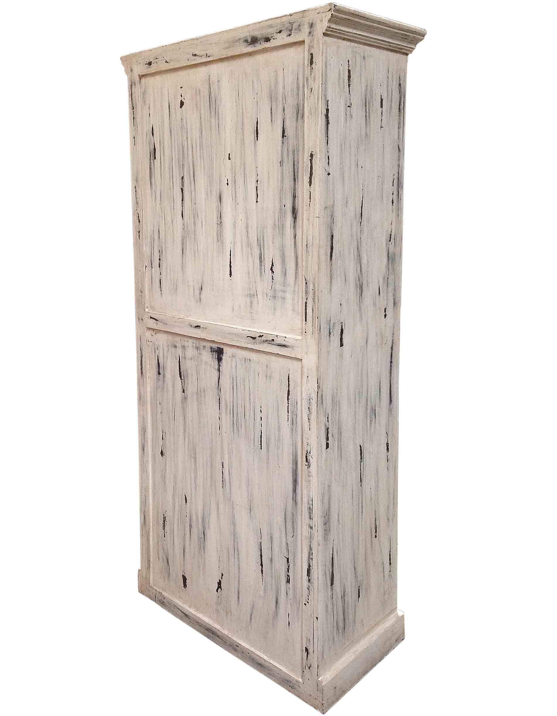 Distressed Kitchen Cabinet Doors: Distressed White Double Door Cabinet