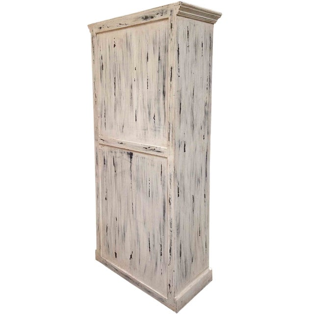 Distressed White Double Door Cabinet Chairish