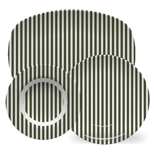 American Chairish x The Muddy Dog Stripes Outdoor Bowls, Pine, Set of 6 For Sale - Image 3 of 4