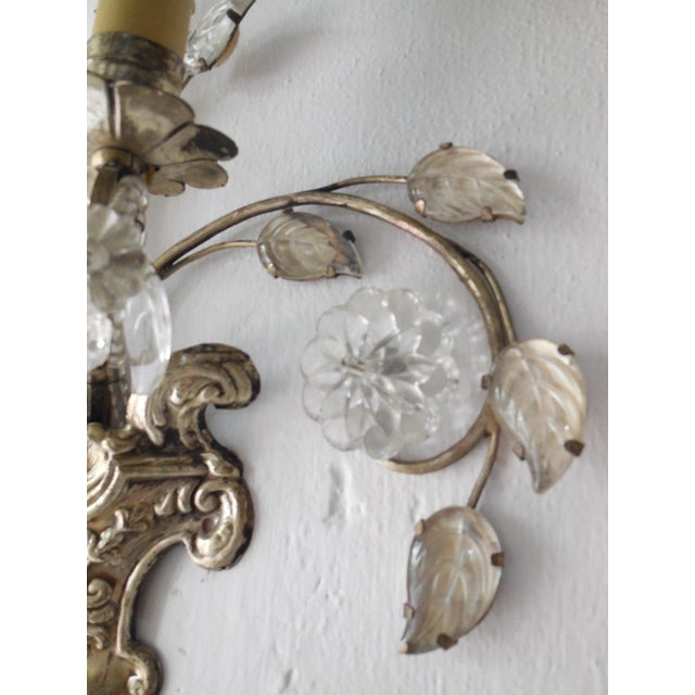 1920s French Maison Bagues Style Silver Floral Beaded Sconces For Sale - Image 5 of 10