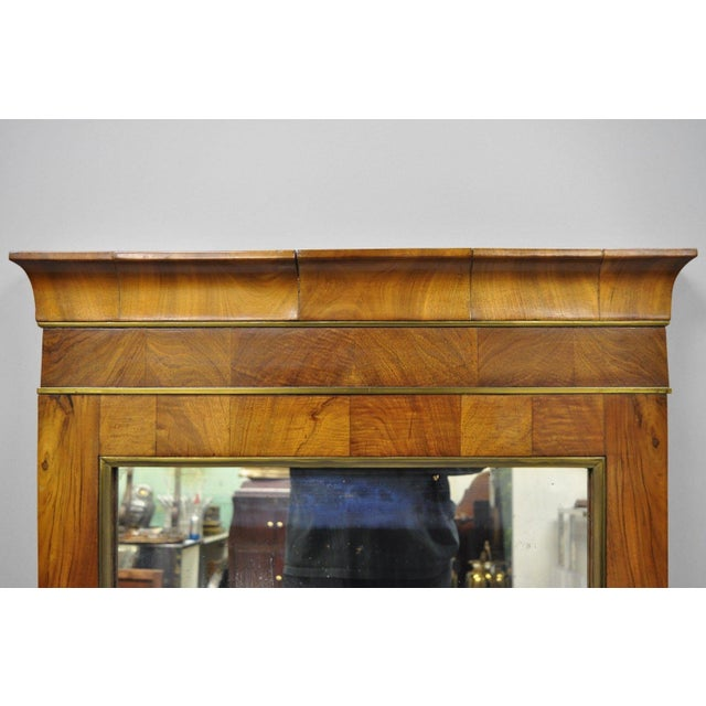 19th Century Vintage American Empire Crotch Mahogany Looking Glass Wall Mirror For Sale - Image 4 of 12