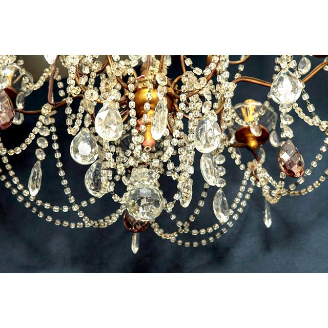 Classic Eight Light Italian Crystal Chandelier With Gilt Wood Bobeches - Image 3 of 6