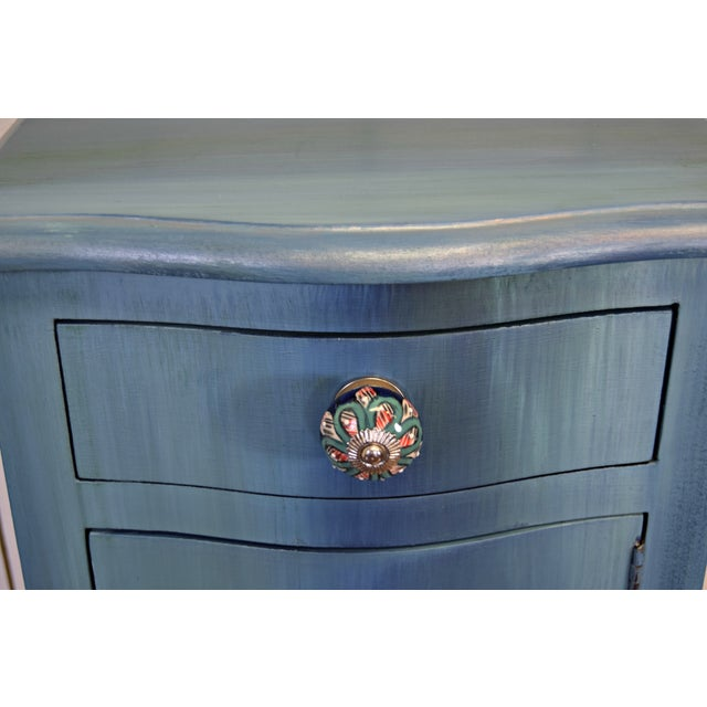 Boho Chic Small Bohemian Blue Painted Cabinet For Sale - Image 3 of 6