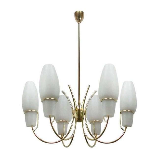 Gold 1950s Stilnovo Italian Opaline Glass Brass Chandelier For Sale - Image 8 of 8