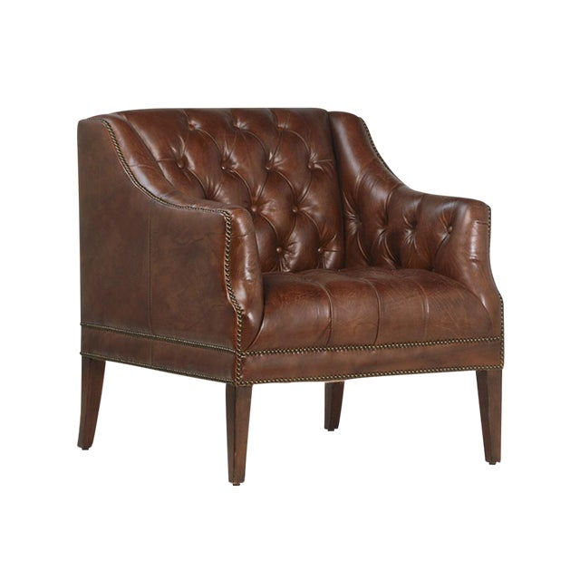 Aged Brown Leather Armchair For Sale