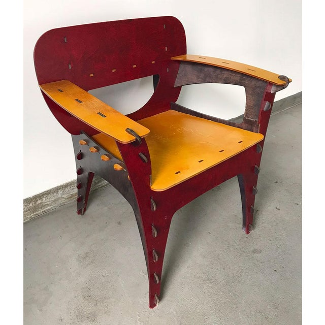 Stylish modern puzzle chair designed by David Kawecki, circa early 1990s. Comprised of birch, walnut and plywood shapes...