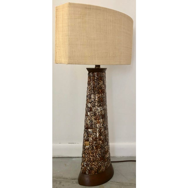 Coastal XL Mosaic Shell Table Lamp With Shade For Sale - Image 3 of 11