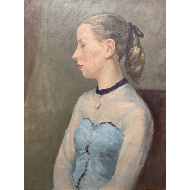 Portraiture Vintage Portrait of a Young Woman Original Oil Painting in Ornate Giltwood Frame For Sale - Image 3 of 12