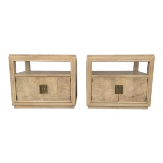 Beige Tone Olive Wood Brass Detailed Nightstands - A Pair
