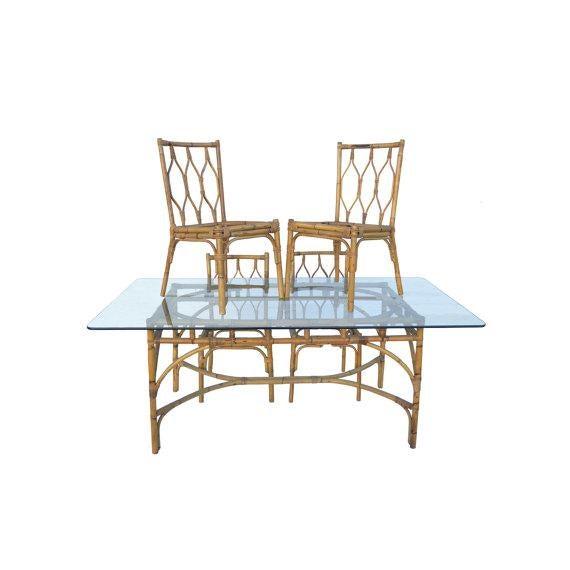 Mid-Century Modern Bamboo Dining Set - Image 2 of 5