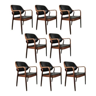 Black Don Petitt Bentwood Armchairs for Knoll - Set of 8 For Sale