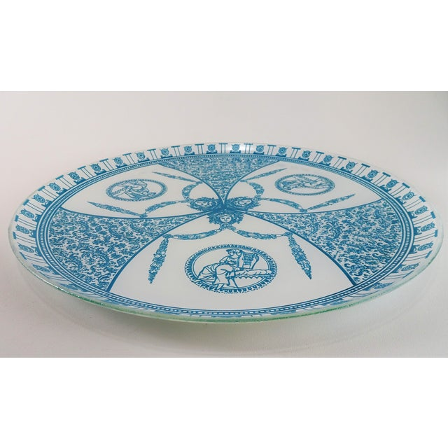 Vintage, Mid-Century era, glass serving plate/tray with French Neoclassical motif print. A perfect plate to serve hors...