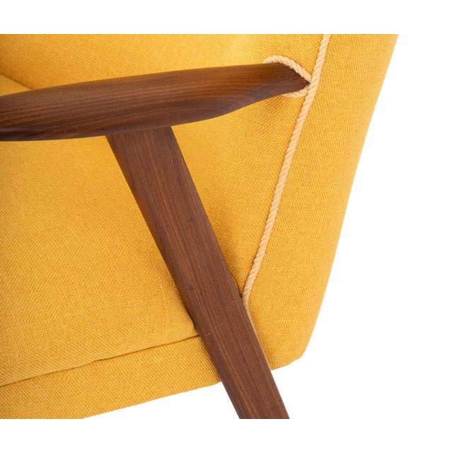 1950s Cocktail Chair Re-Upholstered in Yellow Fabric in the Style of Kurt Olsen, 1950s For Sale - Image 5 of 7