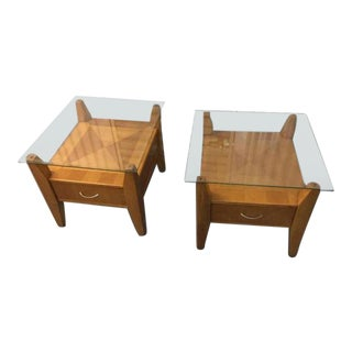 Glass Topped Side Tables - A Pair