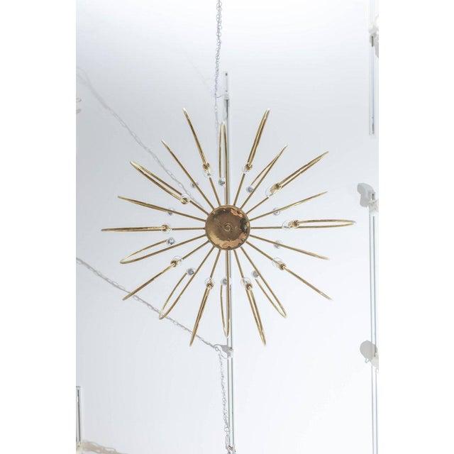 Modern Polished Brass Twelve-Arm Chandelier For Sale - Image 3 of 5