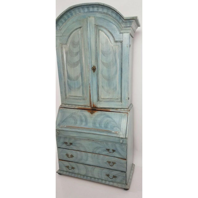 French Country Antique 18th C Blue Paint Decorated French Country Secretary Desk For Sale - Image 3 of 8
