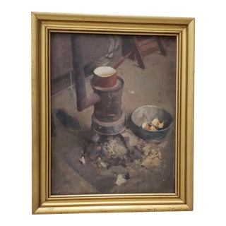 """Late 19th C. To Early 20th C. """"Pot on the Stove"""" Original Oil Painting For Sale"""