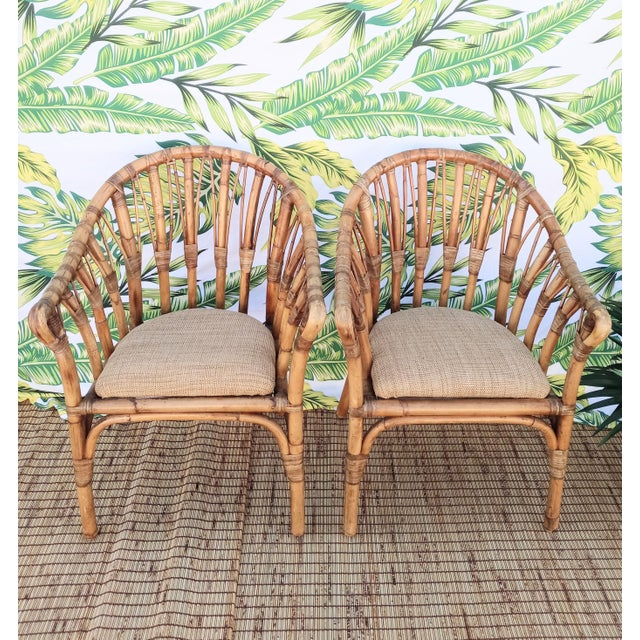 Vintage Coastal Regency Bamboo Side Chairs Wheat Upholstered Seats -A Pair For Sale - Image 12 of 12