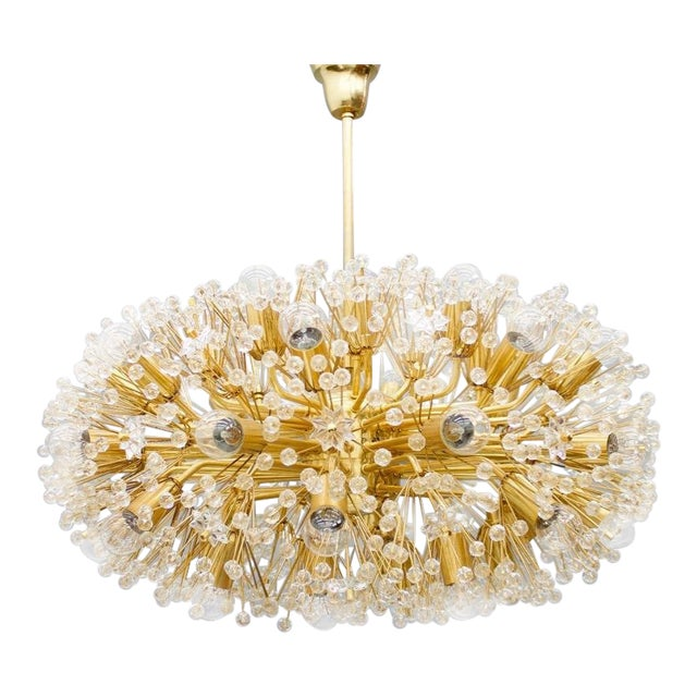 Huge Brass and Glass Chandelier, 1960s For Sale