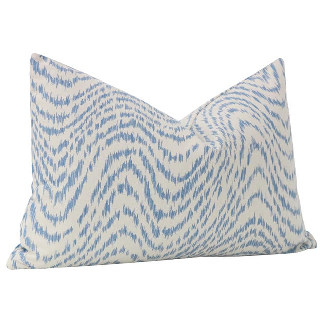 "12"" X 18"" Woven Flamestitch Chambray Lumbar Pillows - a Pair For Sale - Image 4 of 5"