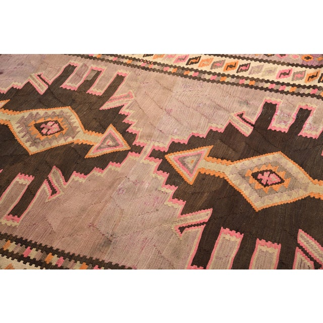 Tribal Mid-Century Vintage Persian Kilim Rug in Lavender and Beige Brown Geometric Pattern For Sale - Image 3 of 6