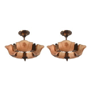 Pair of Markel Art Deco Ceiling Fixtures For Sale