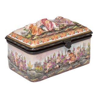 Capodimonte Porcelain Decorated Lidded Box For Sale