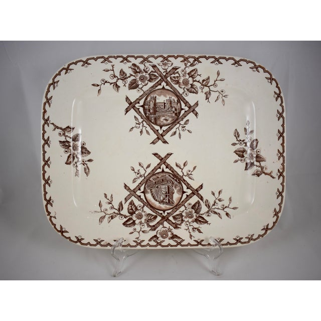 Traditional 19th C. English Aesthetic Movement Japonesque Transferware Serving Platter For Sale - Image 3 of 10