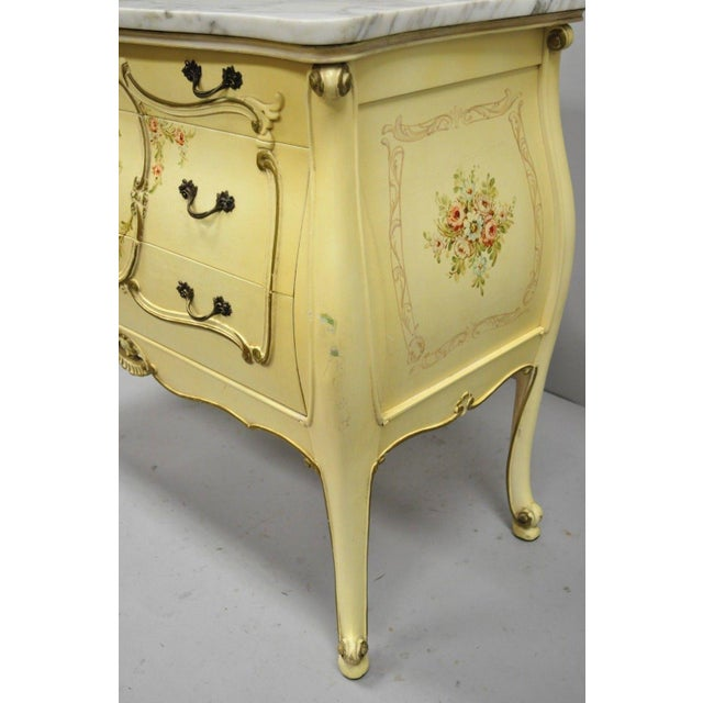 Cream Floral Painted Marble Top Commode For Sale In Philadelphia - Image 6 of 11