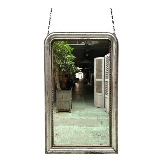 French 19th Century Silver Leaf Gilded Mirror For Sale