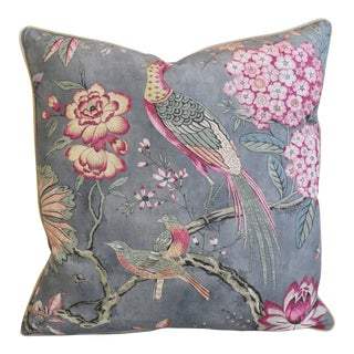 """Anna French Thibaut Floral & Bird Feather/Down Pillow 24"""" Square For Sale"""