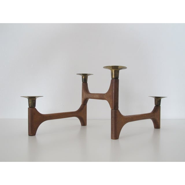 Mid-Century Wood and Brass Candelabra - Image 2 of 8