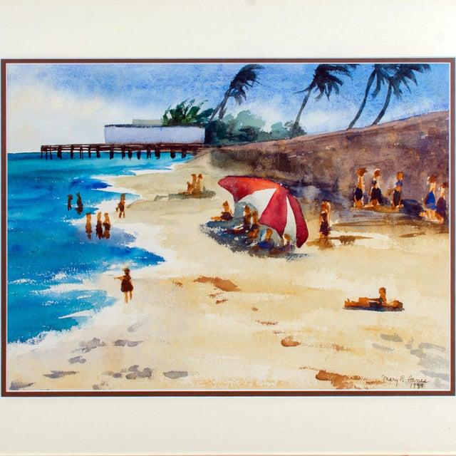 1949 Watercolor Beach Scene Painting