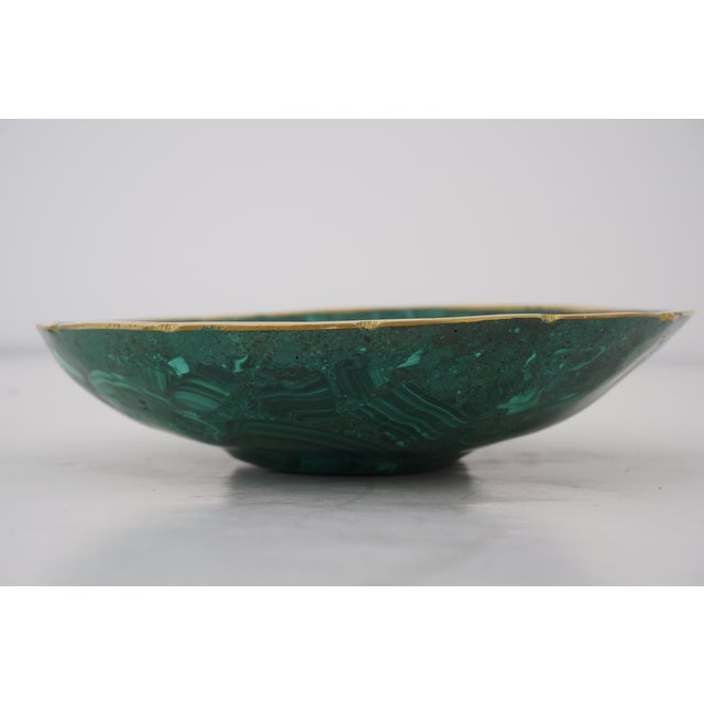 Vintage Round Malachite Dish With Scalloped Brass Rim For Sale - Image 4 of 10