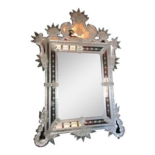 Elegant and Intricate Murano Floral Pattern Mirror For Sale