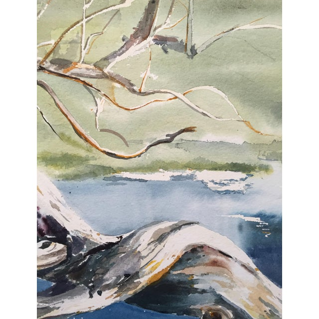 Thelma Moody 1960s Tree in River Painting - Image 3 of 5