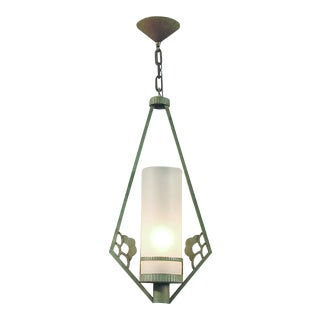 French Outdoor Metal Diamond Shaped Framed and Frosted Glass Pendant Light For Sale