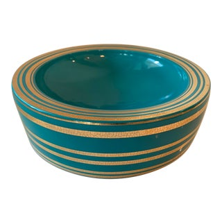 Jonathan Adler Santorini Collection Teal & Gold Bowl For Sale