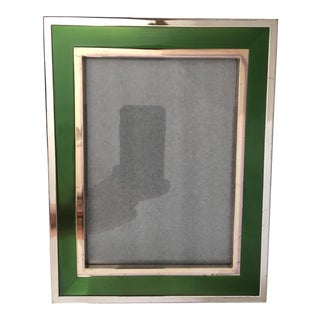 Reed & Barton Silver With Green Enamel Picture Frame For Sale