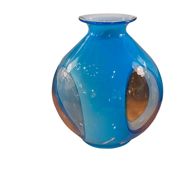 Late 20th Century Blue Art Glass Vase For Sale