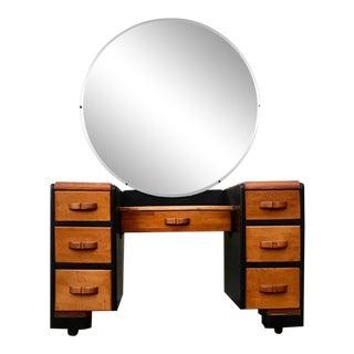 Mid-Century Waterfall Vanity/Dresser W/ Mirror For Sale
